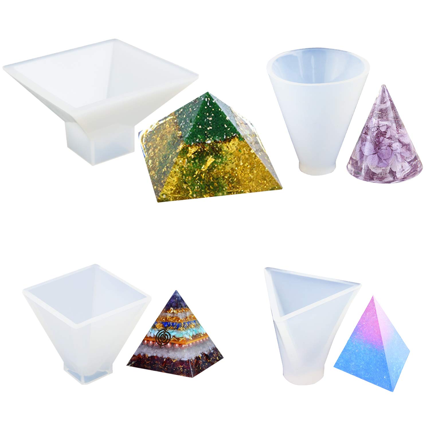4 Pack Pyramid Silicone Molds JOFAMY Resin Casting Molds, Cone Epoxy Resin Molds, Resin Jewelry Molds for Orgone Pyramid, Home Decoration, Candle and Soap Making, Etc (Pyramid 4pcs) E4ulife