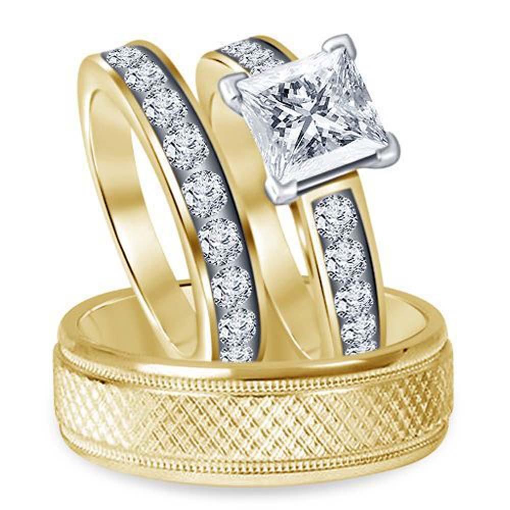 Silvostyles 14K Yellow Gold Over 1.25TCW Princess & Round Sim Diamond Trio Wedding Ring Set