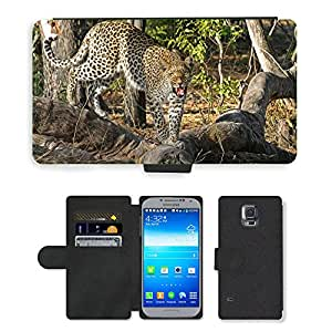 PU LEATHER case coque housse smartphone Flip bag Cover protection // M00108255 Leopardo salvaje del gato grande de // Samsung Galaxy S5 S V SV i9600 (Not Fits S5 ACTIVE)