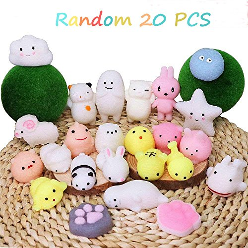 Animal Stress Balls - CETIM Mochi Squishy Toy, 20 Pcs Mini Mochi Kawaii Animal Squishies, Soft Squeeze Stress Reliever Balls Toys for Kids And Adults, Pefect Party Favors