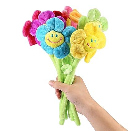RAILONCH Juego de 8 flores artificiales de peluche, diseño de flores