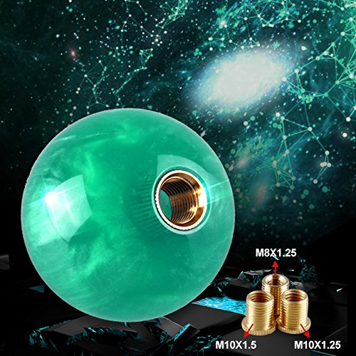 - Ruien Marble Style Round Ball Gear Shift Knob Light Green With 3 Adapters M8×1.25 M10×1.25 M10×1.5