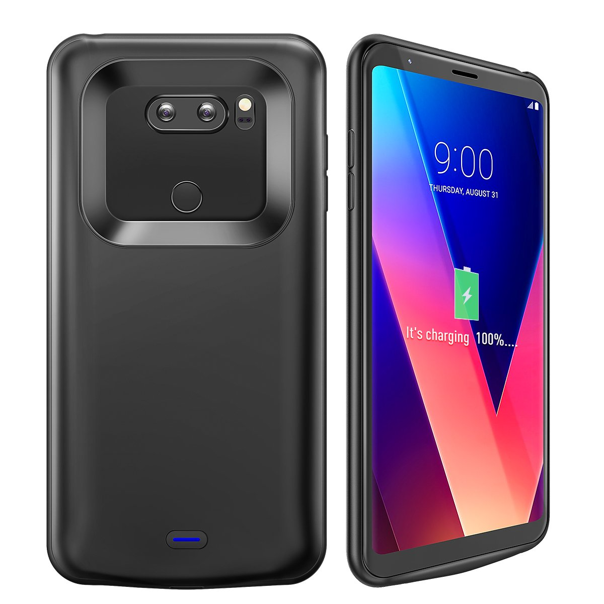 LG V30 Battery Charger Case, Newdery 4200mAh Slim Portable Power Charging Case with Soft Edge Full Protection, Extended Battery Juice Pack Cover [USB - C Input] for LG V30/V30 Plus/V30S/V35/V35 ThinQ