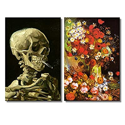 Vase with Poppies Cornflowers Peonies and Chrysanthemums Skull of a Skeleton with Burning Cigarette by Vincent Van Gogh Oil Painting Reproduction in Set of Panels