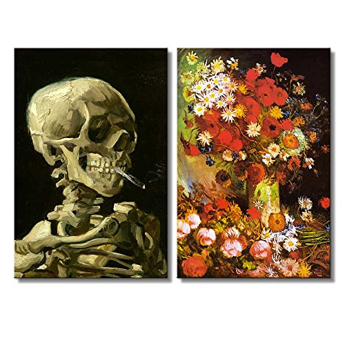 Vase with Poppies Cornflowers Peonies and Chrysanthemums Skull of a Skeleton with Burning Cigarette by Vincent Van Gogh Oil Painting Reproduction in Set of 2 x 2 Panels