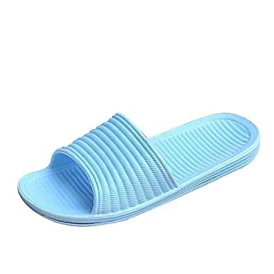 41a6d97aa67b Qianle Women Hollow Bath Slippers Non Slip Bathroom Summer Sandals Blue UK3