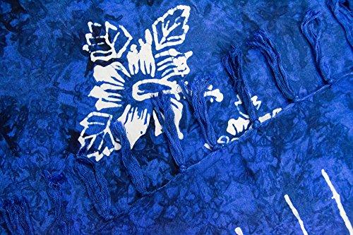 ManuMar Pareo de mujer | Pareo toalla de playa | Pareo ligero con flecos-borlas, diferentes tamaños, diseños y colores Dunkel-Blau Hibiscus