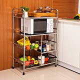 304 stainless steel kitchen microwave oven rack / pot rack / movable vegetable rack / cart