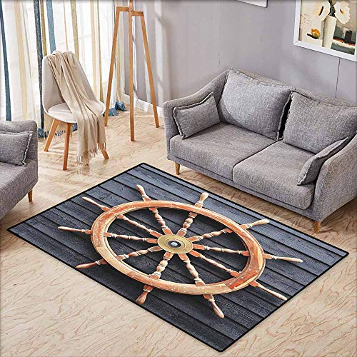 Joker Machine Forward Controls - Door Rug Indoors Ships Wheel Decor Collection Old Trawler Steering Wheel Captain Direction Control on Hardwood Timber Wall Charcoal Camel Breathability W7'8 xL4'9