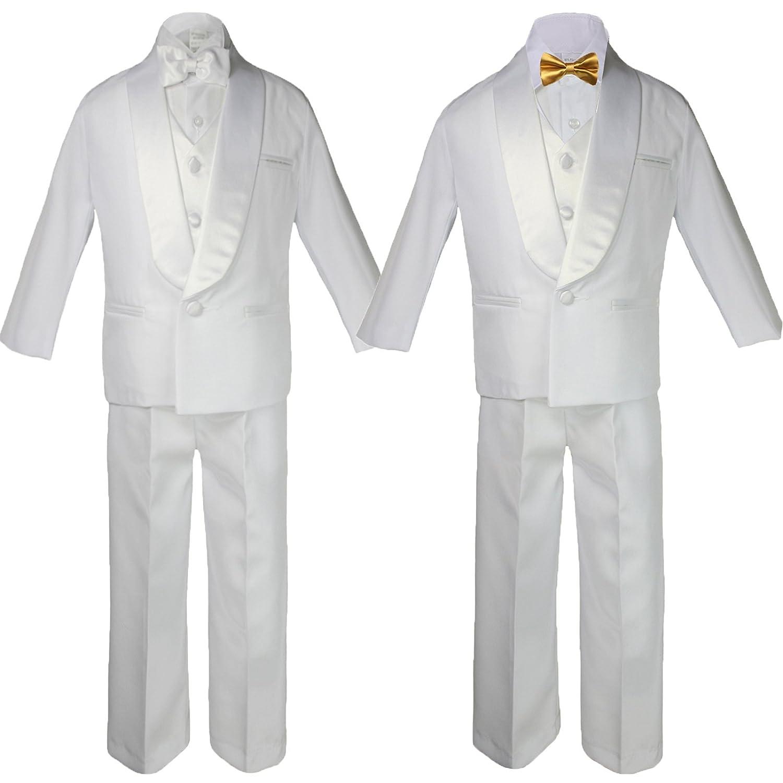 6pc Boys White Satin Shawl Lapel Suits Tuxedo EXTRA Gold Satin Bow tie Set