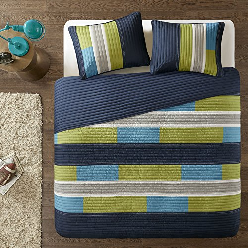 Bedspreads Twin XL Size Mini Quilt Set - Casual Pierre 2 Piece Kids Lightweight Filling Bedding Cover - Blue / Navy Patchwork Print - All Season Hypoallergenic - Fits Twin/Twin XL - Comfort Spaces