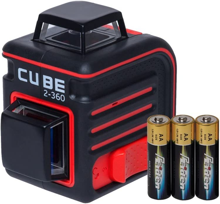 AdirPro Cube 2-360 Horizontal & Vertical Cross Line Laser |Professional Self-Levelling Tool for ±4° Accuracy Two 360° Beams