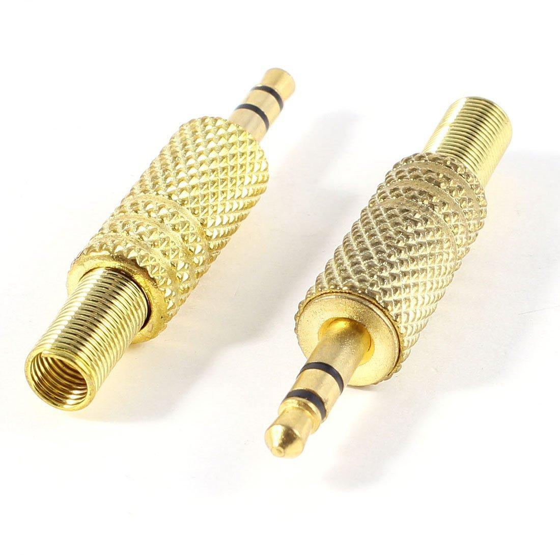 SODIAL(R)2pzs Tono de oro Aleacion 3.5mm 1/8 pulgada Conector de audio de cable coaxial macho jack clavija: Amazon.es: Electrónica