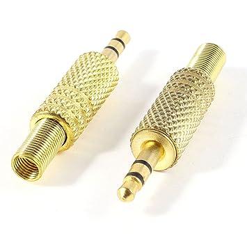 SODIAL(R)2pzs Tono de oro Aleacion 3.5mm 1/8 pulgada Conector de audio de cable coaxial macho jack clavija