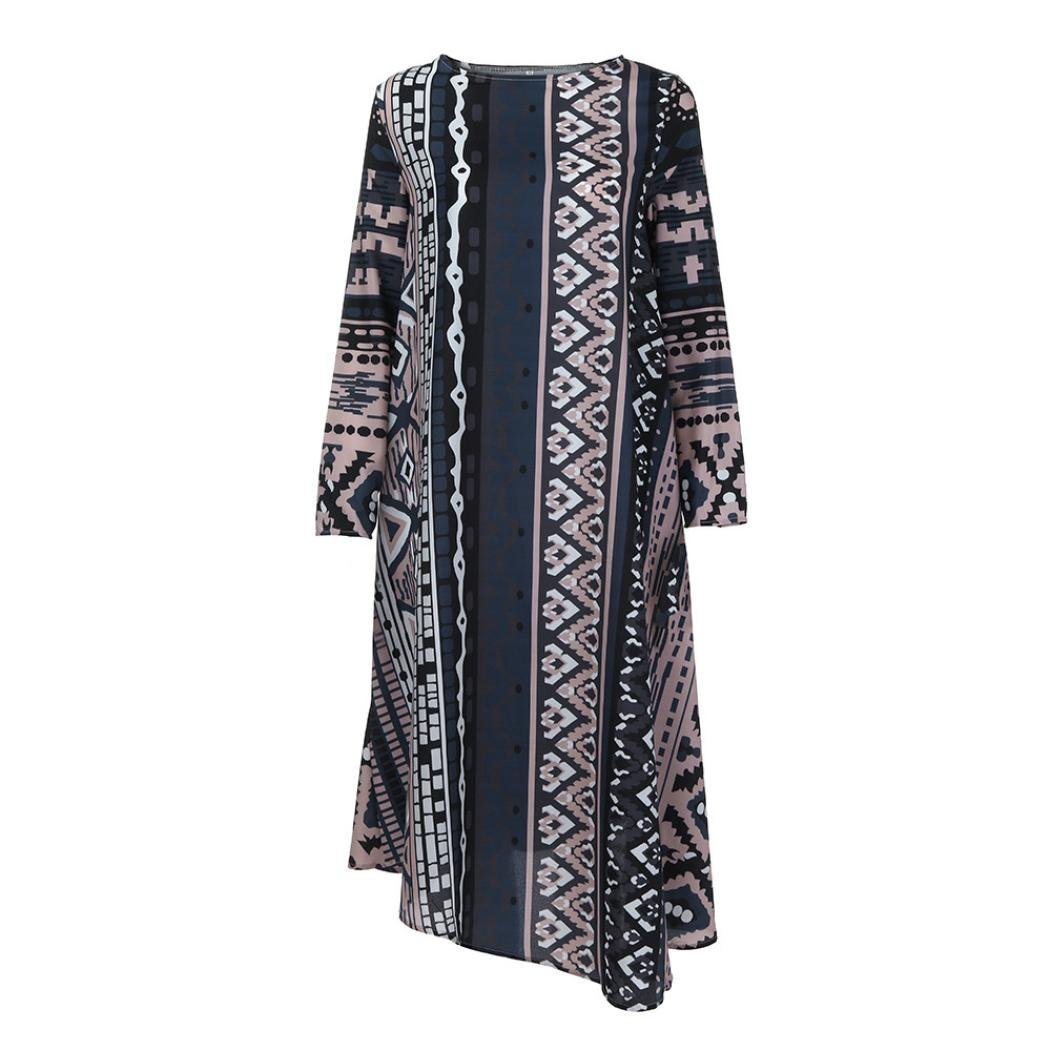 Boomboom Unique African Style Women Long Sleeve Striped Loose Long Dresses