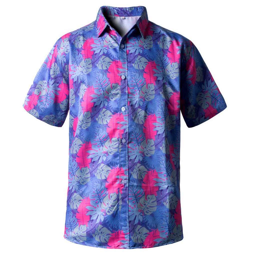 FakMe Mens Hawaiian Short Sleeve Shirt Flower Print Casual Button Down Beach Shirts Tops