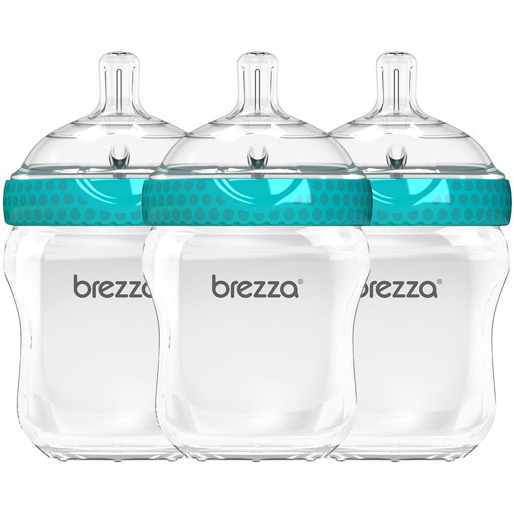 Baby Brezza BPA Free, Anti-Colic Baby Bottle with Lid - Large, 2-Piece, Wide Neck Design - Feeding Bottles for Boys, Girls & Newborns - Blue Bottle - 9 Ounce - 3 Bottles