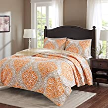 Comfort Spaces – Coco Mini Quilt Set - 3 Piece – Orange and Taupe– Printed Damask Pattern –Full / Queen size, includes 1 Quilt, 2 Shams