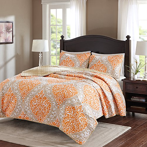 Comfort Spaces – Coco Mini Quilt Set - 2 Piece – Orange and Taupe– Printed Damask Pattern –Twin / Twin XL size, includes 1 Quilt, 1 Sham (Quilt Twin Orange)