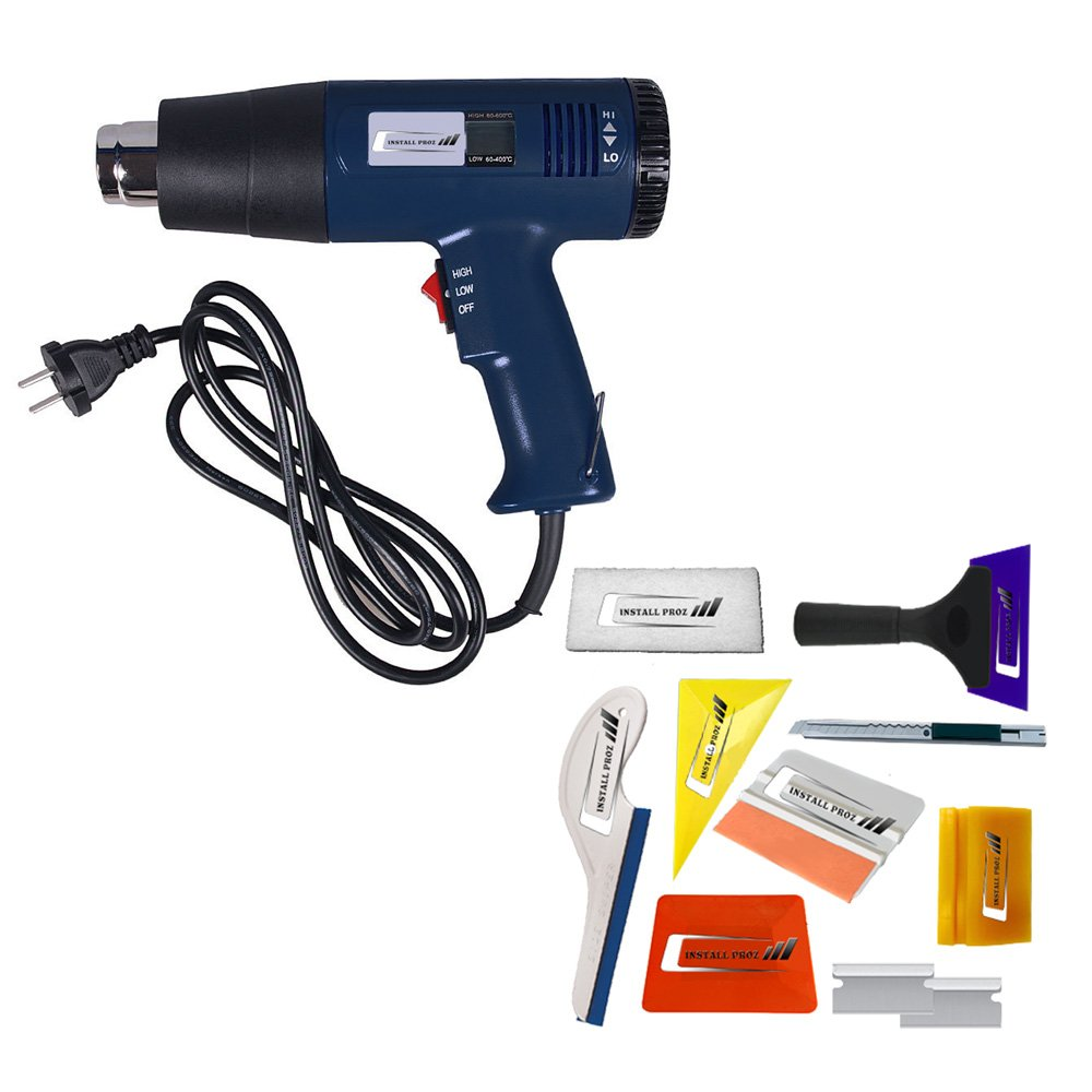 Install Proz 1800W Industrial Heat Gun With Digital Temperature Gauge ((2 attachments and Tint Tool Kit))