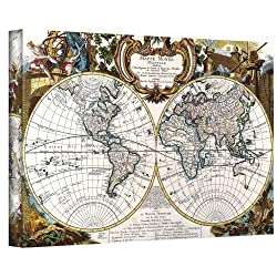 Art Wall Antique World Map Circa 1499 Gallery Wrapped Canvas Art, 32 By 48-inch