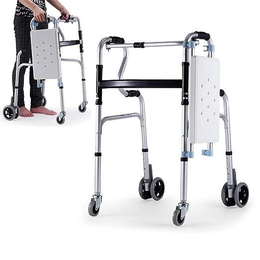 YxnGu Andador Plegable con Ruedas - Caminador médico de 4 Ruedas ...