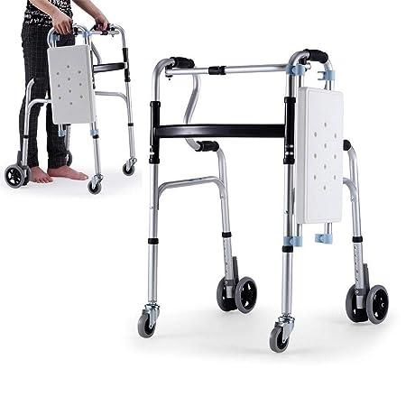 YxnGu Andador Plegable con Ruedas - Caminador médico de 4 ...