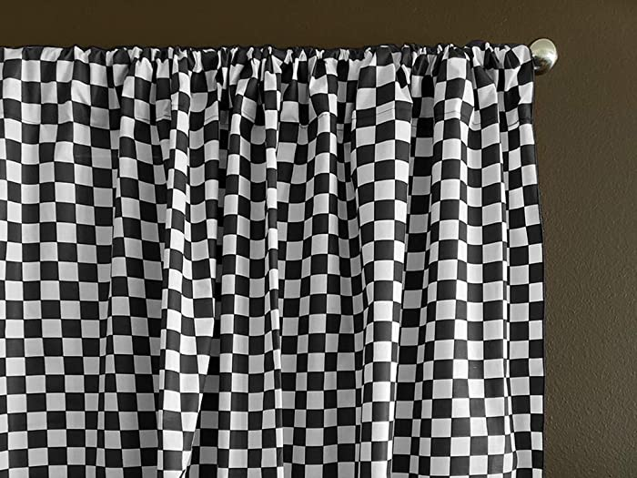 Zen Creative Designs Premium Cotton Checker Board Curtain Panel/Home Window Decor/Window Treatments/Checker Board/Race Flag/Chess Board/Decorative (58 Inch x 63 Inch, Black)