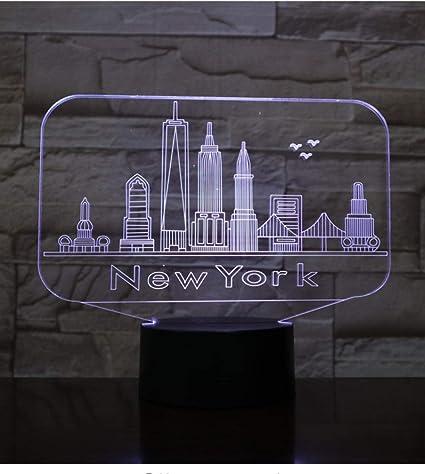 Ciudad Nueva York Usb 3D Luz De La Noche Llevó La Decoración De ...