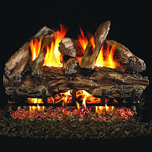 Red Oak Outdoor Natural - Peterson Real Fyre 18-inch Red Oak Outdoor Gas Log Set With Vented Natural Gas Stainless G45 Burner - Match Light
