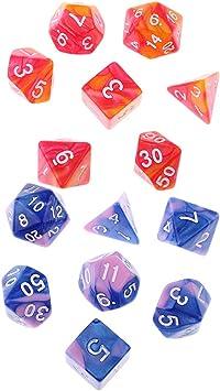 non-brand 14pcs Dados D3 D4 D6 D8 D10 D12 D20 Juegos de Mesa Accesorios: Amazon.es: Juguetes y juegos
