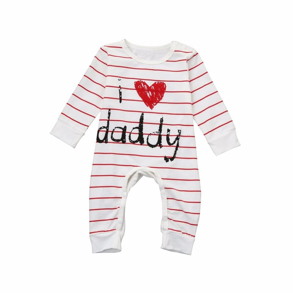 CHshe Winter 0-18 Months Newborn Baby Toddler Striped Rompers, I Love Daddy Boys Girls Buckle Print Infant Cotton Blend Jumpsuit