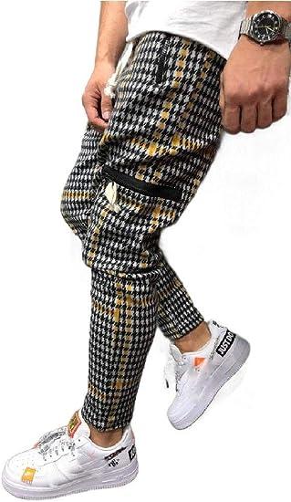 AngelSpace メンズ アスレチック フィット ビッグ トール コージー ハウンズトゥース ズボン テンズ パンツ