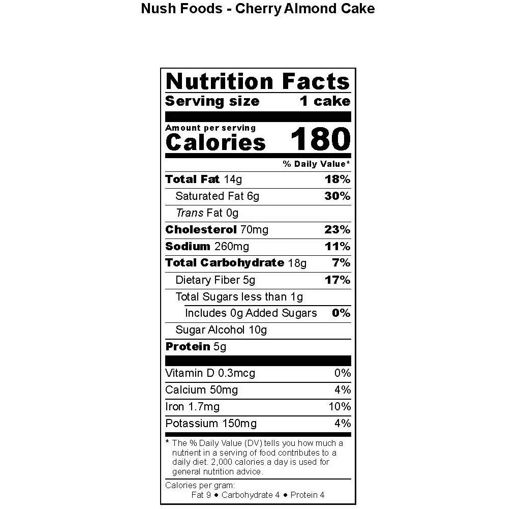 Low Carb Keto Snack Cakes (Flax-Based) - Cherry Almond Flavor (6 Cakes) - Gluten Free, Soy Free, Organic, No Sugar Added - Great for Ketogenic, Low-Carb, Atkins, and Low-Sugar Diets by Nush Foods