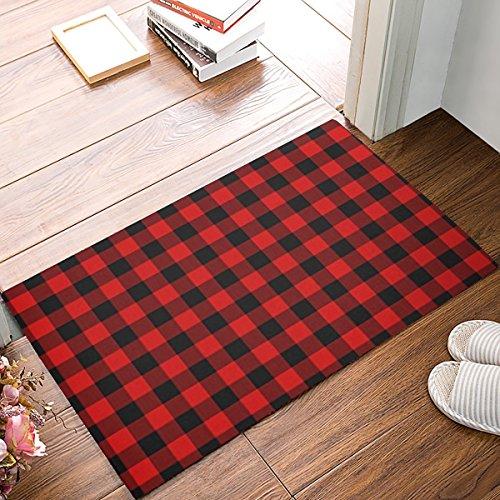 KAROLA Non-Slip Indoor Thin Doormat, 18 by 30 -Inch Entry Way Shoes Scraper Patio Rug - Rustic Red Black Buffalo Check Plaid Pattern -