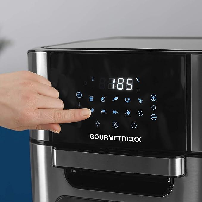 Schwarz, 1800 Watt Mit Touch-Display und umfangreichem Zubeh/ör GOURMETmaxx Hei/ßluftfritteuse XXL 12 Liter Mini-Backofen mit Umluft 80-200/°C Fritteuse f/ür einfaches Frittieren ohne Fett