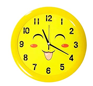 Amazon.com: Ysayc Wall Clock Super Mute Kids Cartoon Yellow Smiley Wall Clock Creative 12 inch Living Room Bedroom Office Wall Clock, 12 inches, ...