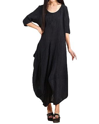 Maxi Langarm Vintage Beiläufige Kleid Wasserfall Baggy Styledome Unregelmäßig Boho Damen rCxsQtdh