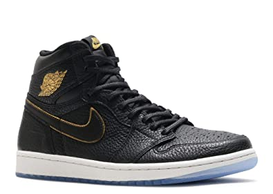 official photos 33a9e 9340c Image Unavailable. Image not available for. Color  Nike Mens Air Jordan  High 1 Retro OG Black Metallic Gold-Summit White Size