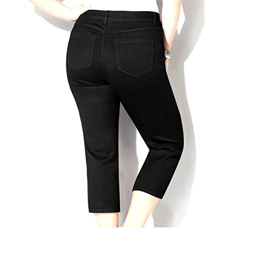 1826 Stretchy premium CAPRI BLACK denim jeans HIGH WAIST WOMENS ...