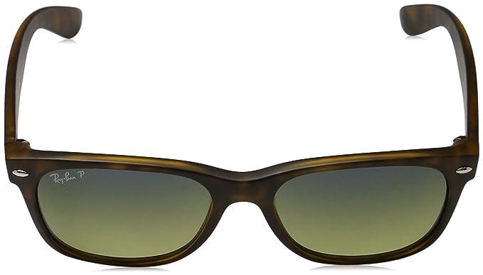 Ray-Ban RB2132 New Wayfarer Polarized Sunglasses, Striped Tortoise/Polarized Crystal Brown, 55 mm