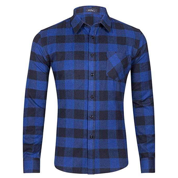 Bestow Camisa de Manga Larga para Hombre Camisa a Cuadros de un Solo Bolsillo Invierno Hombre