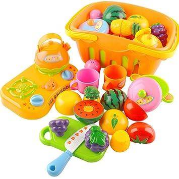 vococal piezas kit juego divertida juguetes cocina corte frutas verduras con cestas para nia