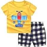 Jimmackey Neonato Unisex Camicia Stampa Aeroplano Cime T- Shirt + Plaid Pantaloncini Abiti Set