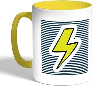 Printed Coffee Mug, Yellow Color, Electric thunderbolt