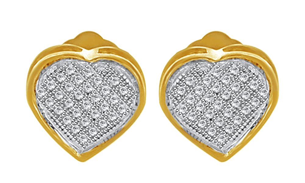 Round Cut Natural White Natural Diamond Heart Shape Stud Earrings in 14k Yellow Gold Over Sterling Silver 0.03 cttw
