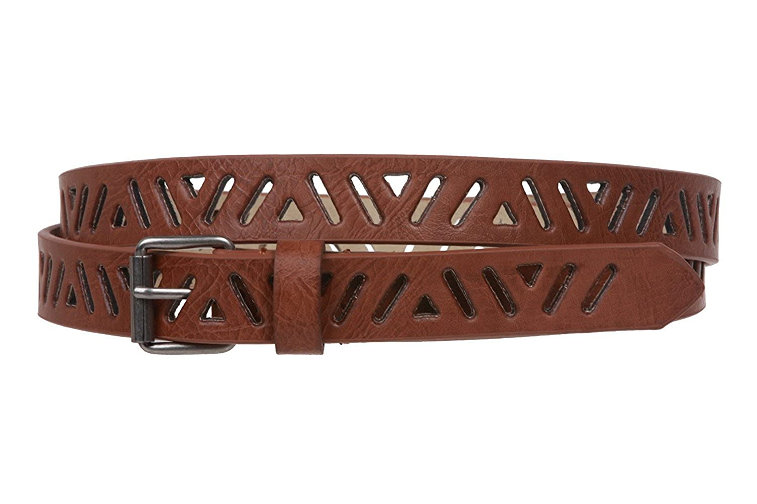 MONIQUE Women Perforated Skinny Roller Buckle Bonded Leather 19mm Wide Belt