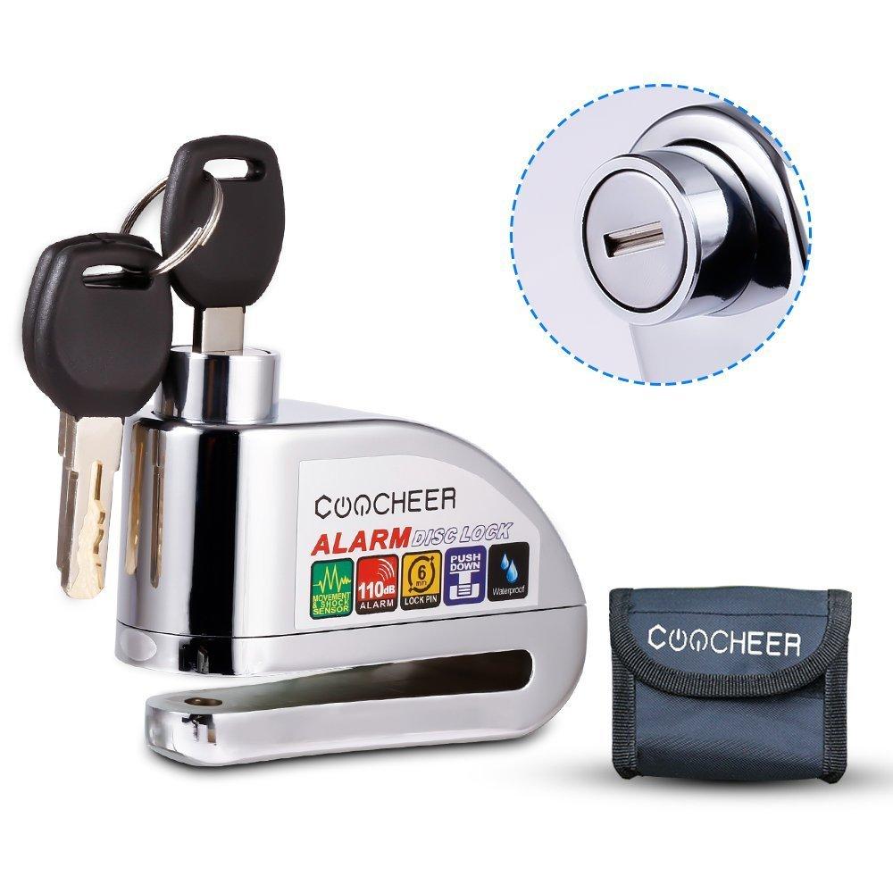 COOCHEER Motorcycle Disc Lock, Scooter Bike Security Anti-theft & Waterproof Brake Disc Wheel Alarm Lock 6mm Super Class B Lock Cylinder 110db Alarm With Bag