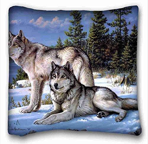 Custom Cotton & Polyester Soft (Animals Joseph hautman Art Wolves) Pillow Covers Bedding Accessories Size 18