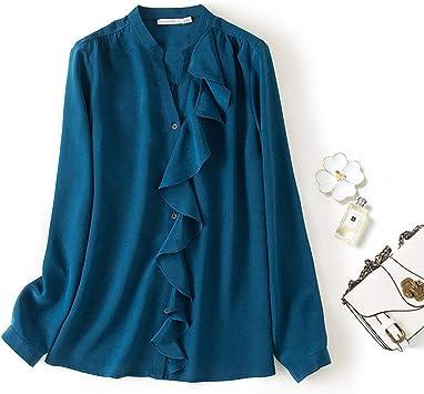 XCXDX Elegante Camisa De Seda Azul para Mujer, Top con Volantes Vintage Y Blusa De Señora De Oficina: Amazon.es: Deportes y aire libre